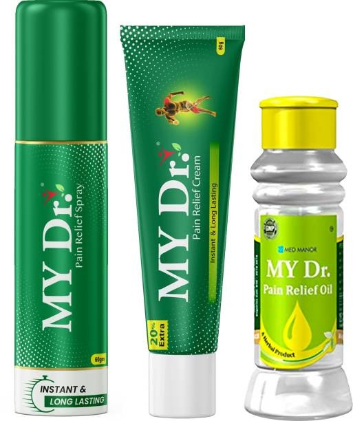 MY Dr. Pain Relief Multi Combo Pack - Oil (60 ml) + Cream (60 g) + Spray (50 ml) - Relieves All Joint Pains & Body Pains with Immediate Effect Liquid