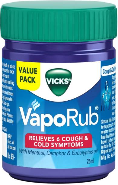 VICKS Relief From Cold, Cough, Blocked Nose, Headache, Body ache, Muscular stiffness and Breathing difficulty Vaporub Balm