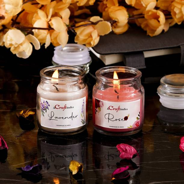 eCraftIndia Pack of 2 flavour Jar Candle - Lavender, Rose Candle