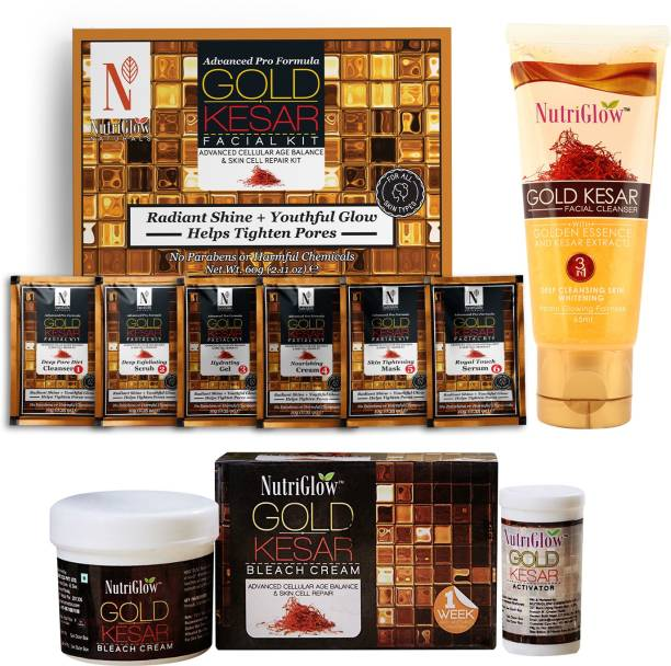 NutriGlow NATURAL'S Advance Pro Formula Gold Kesar Facial Kit + Gold Kesar Face Wash + Gold Kesar Bleach Complete Skin Care Kit (Combo of 3)