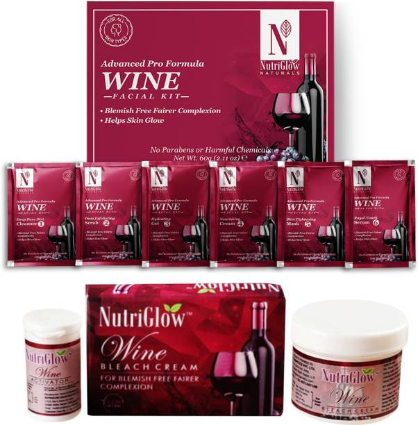 NutriGlow NATURAL'S Advance Pro Formula Wine Facial Kit (60gm) & Wine Bleach For Anti-Aging & Fairer Skin - (43gm)
