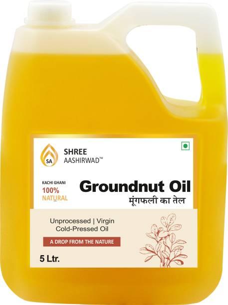 SHREE AASHIRWAD Pure & Natural Cold Pressed Groundnut Oil/Peanut Oil - 5 Litre Groundnut Oil PET Bottle