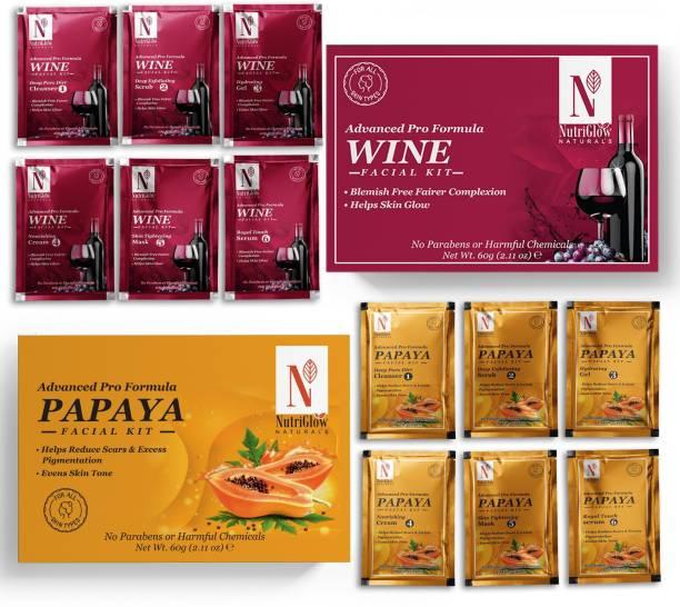 NutriGlow NATURAL'S Advance Pro Formula Wine & Papaya Facial Kit For Blemish Free Fairer Complexion - (60gm Each)