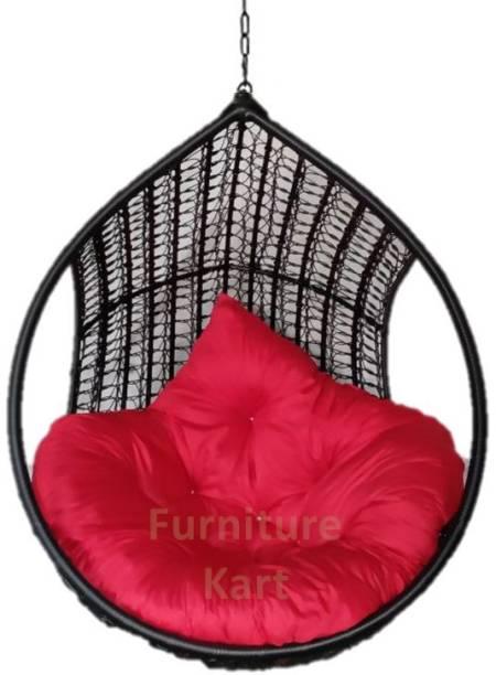 Furniture kart Hammock Swing Chair Black & Red Steel Large Swing