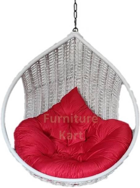 Furniture kart Swing Chair Jhoola White & Red Steel Large Swing