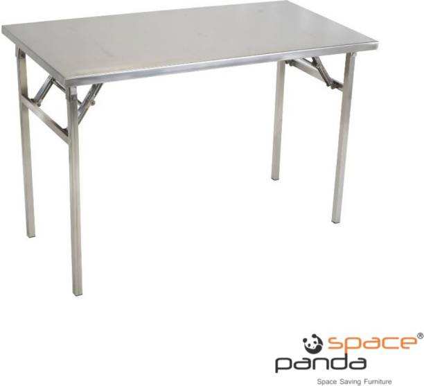 spacepanda Apollon Full Stainless Steel Folding Table, Multipurpose Table, Utility Table, Heavy Duty Table for Indoor, Restaurant, Hotel, Kitchen, Cooking (GREY) Metal Conference Table