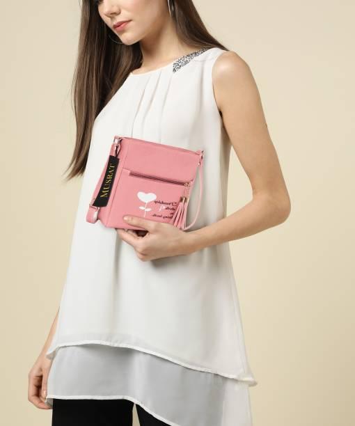 MUSRAT Pink Sling Bag Latest Trend Party Wear Handbag & Sling Bag with Adjustable Strap for Girls and Women's
