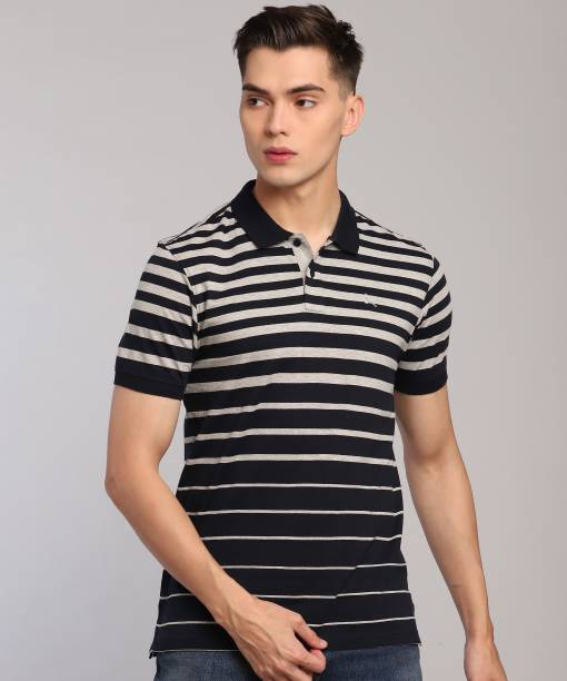 PARX Striped Men Polo Neck Blue T-Shirt