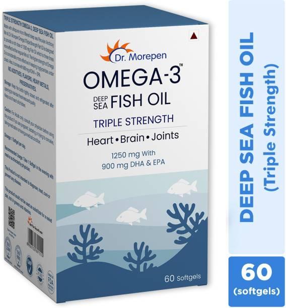 Dr. Morepen Omega 3 Deep Sea Fish Oil Triple Strength, 1250mg with 900mg DHA & EPA 60 Softgels
