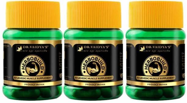 Dr. Vaidya's Herbobuild -Ayurvedic Capsules for Muscle Gain - Pack of 3