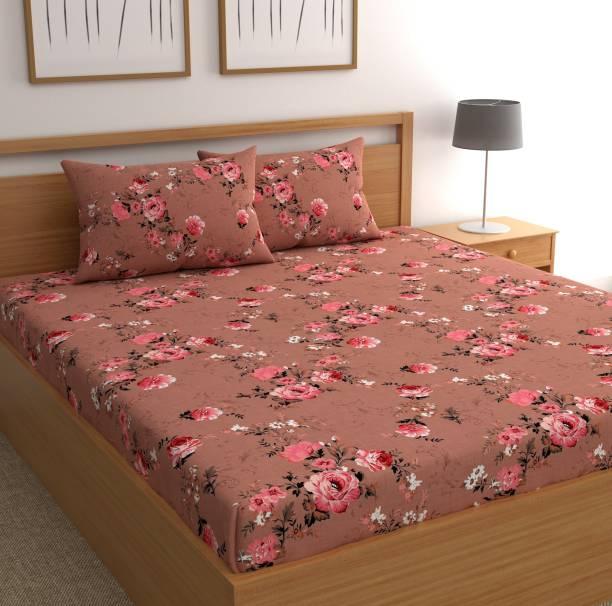 CHHAVI INDIA 120 TC Microfiber Double Floral Bedsheet