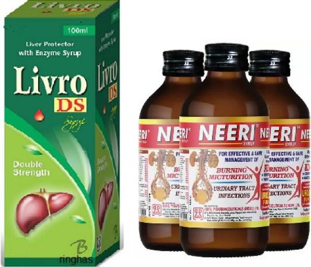 RINGHAS PCI Livro DS Syrup 100ml + NEERI Syrup for Kidney Health (Pack of 3) 200ml