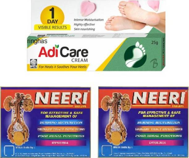 RINGHAS PCI Adi Care Cream 25g + NEERI Tablet for Kidney Stones and Urinary Tract Infections (60 Tablets)