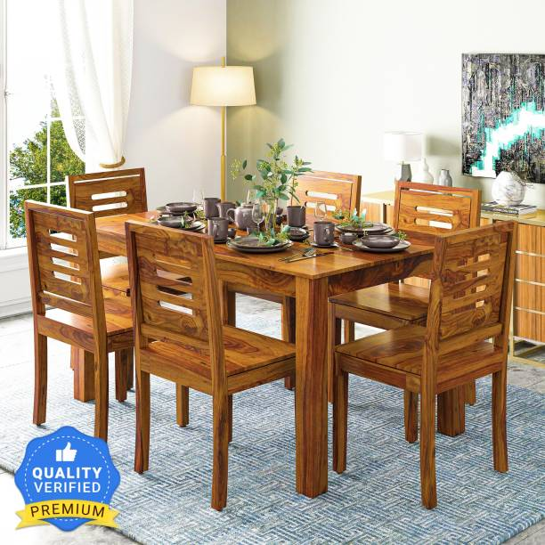 Suncrown Furniture Sheesham Wood Dining Table Set for Living Room Solid Wood 6 Seater Dining Set