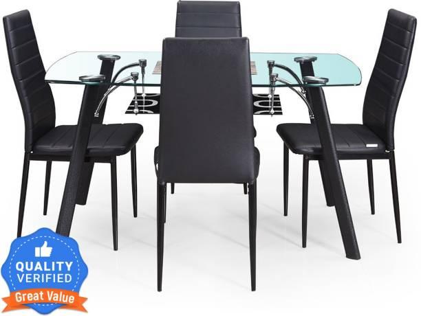 RoyalOak Poznan Metal 4 Seater Dining Set