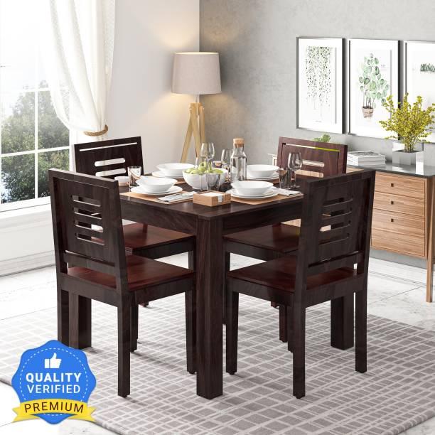 Suncrown Furniture Sheesham Wood Solid Wood 4 Seater Dining Set