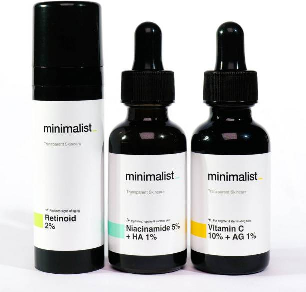Minimalist Daily Multi Vitamin (A, B3 & C) Dose For Skin Rejuvenation & Glow | Vitamin Rich Face Serums & Cream Combo For Healthy Glowing Skin | 90 ml