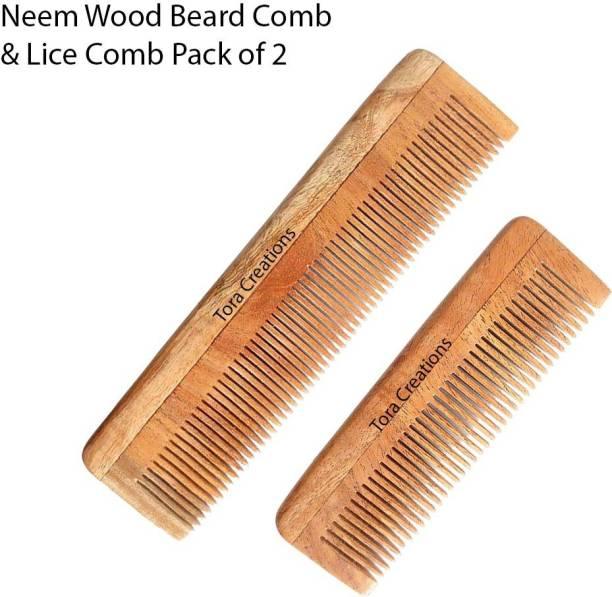 Tora Creations Neem Wood Thin Tooth Pocket & Regular Size Comb [ Handmade   Eco-Friendly ]
