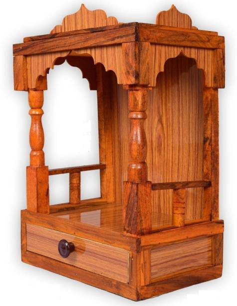 Quantech Mandir for Pooja Home Decoration Wall Hanging Beautiful Wooden Plywood Temple Engineered Wood Home Temple