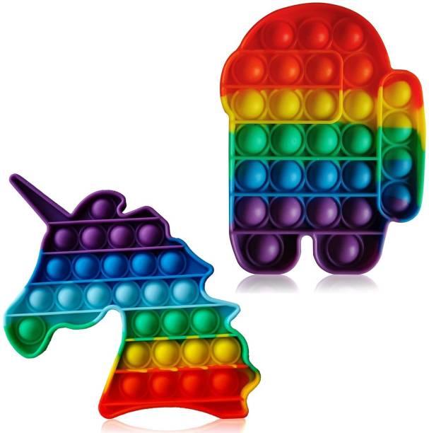 ILASARIYA pop it, pop its, pop it Fidget Toys, Fidget Toys pop it, pop it Toys Rainbow, pop it Toy Rainbow, pop it Set (Unicorn and Robot)