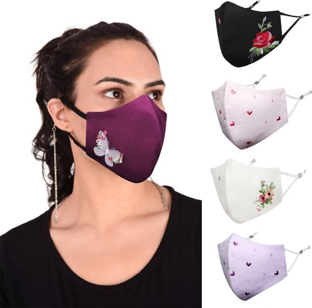 MASQ Anti-Pollution, Anti-Bacterial (BFE>99%) 4 Layer Embroidered, Designer, Fashionable & Protective Cotton Cloth Face Mask Combo for Women with 1 Detachable Chain & Ear Loops Rosette_Combo_Medium_05 Reusable, Washable Cloth Mask
