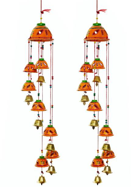 Brothers creation Handcrafted Rajasthani round Bells Design Wall Hanging Decorative Showpiece - 45 cm Wood Windchime