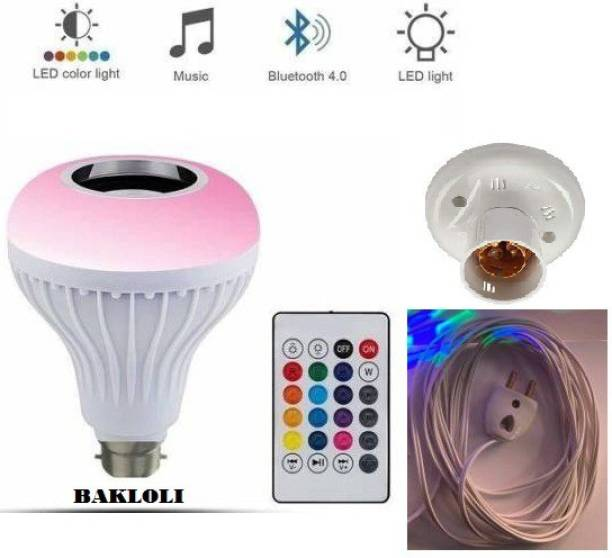 BAKloli Ready To Play Colour Changing Smart Led Music Bulb Remote Controller Bluetooth Music Bulb With 5 MTR WIRE 1 Betten Holder Or 1 2 Pin Top 7W LED And 3W Speaker For Party Home Decor Musici Bulb WIth Remote Smart Bulb+ Smart Bulb Smart Bulb