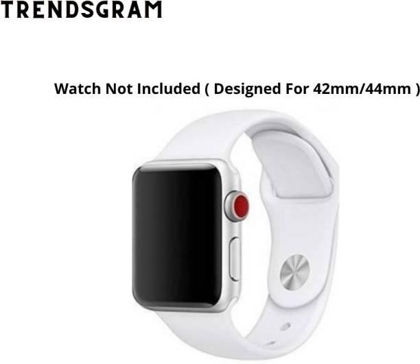TRENDSGRAM White Silicon Smartwatch 42mm/44mm Straps For Series 1/2/3/4/5/6/SE Smart Watch Strap Smart Watch Strap