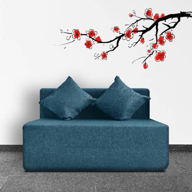 Fresh Up 1 Seater Sofa cum Bed 4x6 Feet - Jute Fabric Washable Cover with 2 Cushions-Aqua Blue, 2 Year Warranty Double Sofa Bed