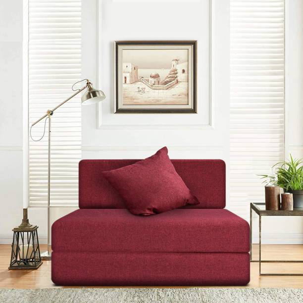 Fresh Up 1 Seater Sofa cum Bed 3x6 Feet - Jute Fabric Washable Cover with 1 Cushion-Maroon, 2 Year Warranty Single Sofa Bed