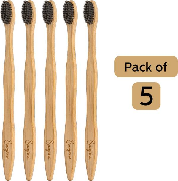 Sangsara By Dr. Odin Bamboo Toothbrush Charcoal Bristles Biodegradable, Natural, Eco-Friendly, Compostable, Vegan Reusable Bamboo Toothbrush Extra Soft Toothbrush