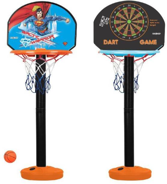 Miss & Chief Superman Licensed height adjustable basket and ball set for Kids Basketball