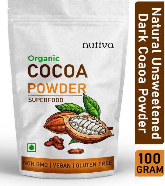 Nutiva Unsweetened Dark Cocoa Powder - 100% Pure, Natural, Unsweetened, Vegan & Gluten Free Cocoa Crystals