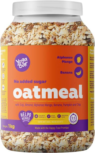 Yogabar No Added Sugar Oatmeal 1kg - with Alphonso Mango, Chia Seeds and Real Fruits & Berries - Gluten Free Oatmeal for Breakfast - Whole Oatmeal Cereal - with Rolled Oats for Weight Loss