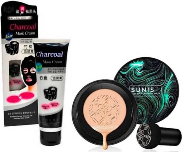 Madaara Charcol Mask Cream For BlackHead & Sunisa ™ Mushroom head air cushion cc cream Moisturizing Foundation Brightening BB Cream Whitening Maquiagem foundation Foundation (2 Items in the set)