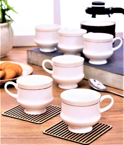 Zaar Pack of 6 Bone China, Ceramic White Golden Premium Quality Cups