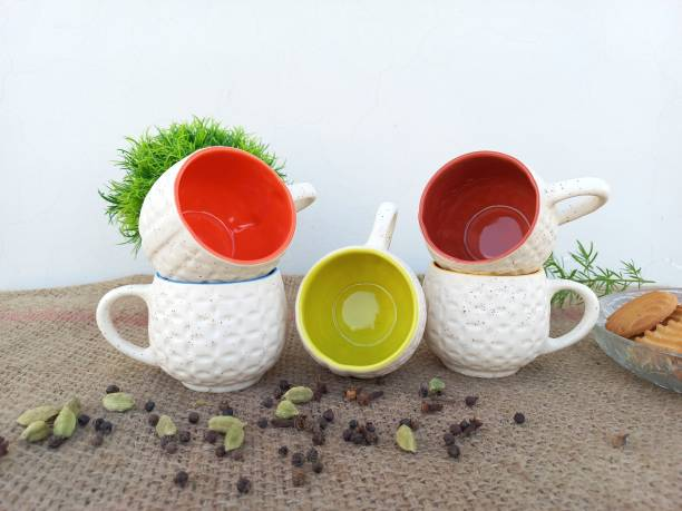 B2R Pack of 6 Bone China, Ceramic Stylish Ceramic Handcrafted Star Football Matte and Multicolor Inside Tea Cup/Coffee Cup Set Ideal Best Gift for Friends, Family, Home, Office use, Kitchen Cup Set (Set of 6, 130 ML)