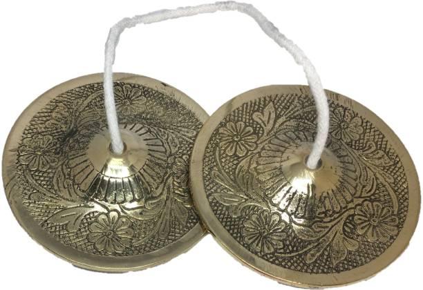 UAPAN Brass Designer Manjira Manjeera Big Size for Handmade Percussion Instrument, Hand Cymbals - Indian Musical Instrument,Kartal Instrument- 420 GM Kartal Instrument