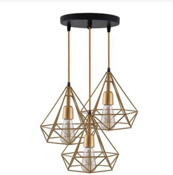 HomesElite Diamond Cluster Pendant Light Home Decoration Hanging Ceiling Lighting Fixture for Dining Hall Restaurant Bar Living Room, Indoor Outdoor Jhumar bar,study room, aisle, corridor, coffee shop Decor (Bulb not included ) (Gold Color) Chandelier Ceiling Lamp
