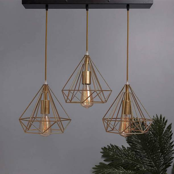 HomesElite Triple Cluster String Ceiling Hanging Pendant Light Home Decor Items Diamond Shape Home Decoration Lighting Modern Braided Cord ,Living Room,Indoor Outdoor Jhumar bar, restaurants, study room, aisle, corridor, coffee shop Decor (Bulb not Included) (Square Plate) Chandelier Ceiling Lamp
