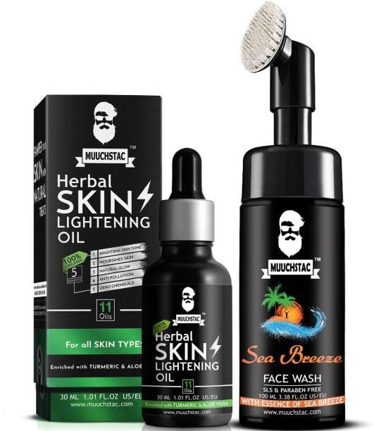 MUUCHSTAC Skin Lightening Combo - Herbal Skin Lightening Oil and Sea Breeze Foam Face Wash with Brush