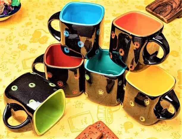 Zaar Pack of 6 Ceramic, Bone China Black Pari Dot Premium Quality Square Cups