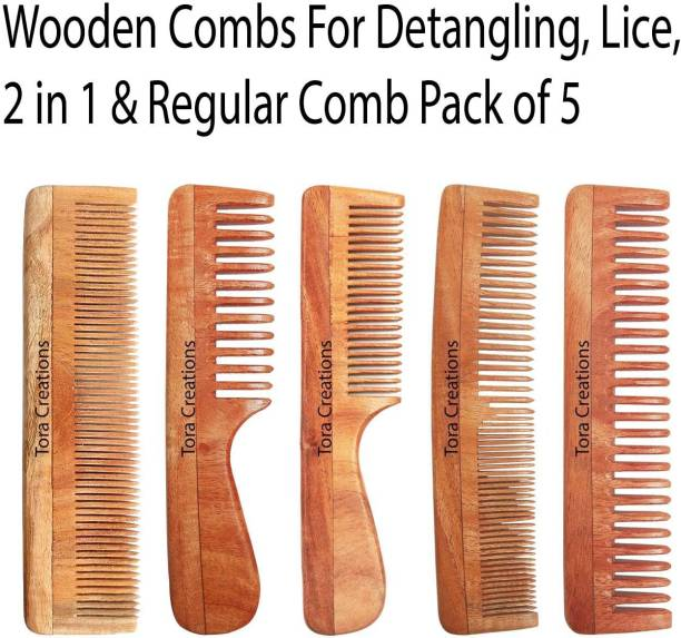 Tora Creations Neem Wood Comb Pack Of 5 [ 2 Detangle, Thin, Medium, Fine & Thin Tooth ]