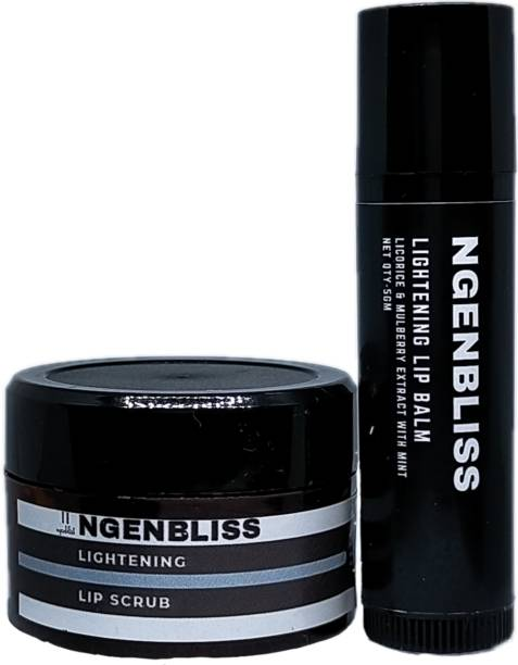 ngenbliss Lip Care Combo Lightening & Brightening Lip Balm and Lip Scrub  Moisturizer For Dry Damaged & Chapped Lips   Lip Scrub Tanned & Darkened Lips   For Men & Women  100% Natural - 5gm+ 10gm mint, mojito