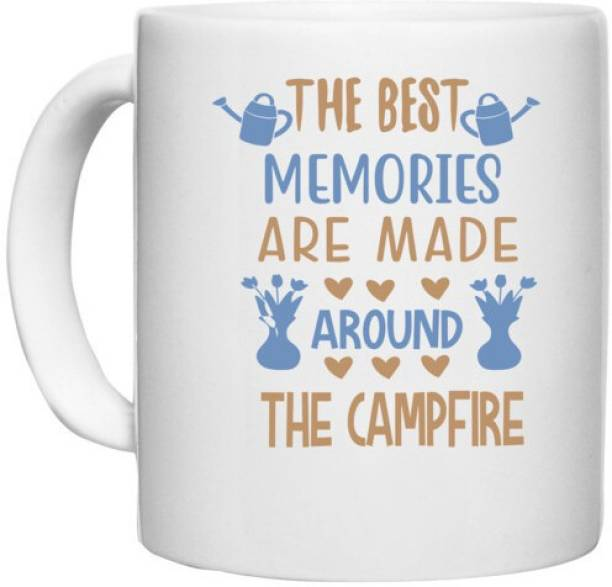 UDNAG White Ceramic Coffee / Tea 'The Campfire   The Best Memories Are Made Around The Campfire' Perfect for Gifting [330ml] Ceramic Coffee Mug