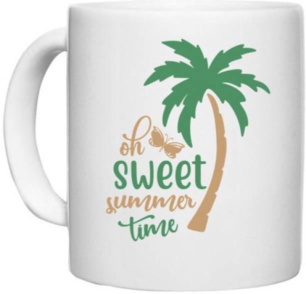 UDNAG White Ceramic Coffee / Tea 'Summer   Sweet summer time' Perfect for Gifting [330ml] Ceramic Coffee Mug