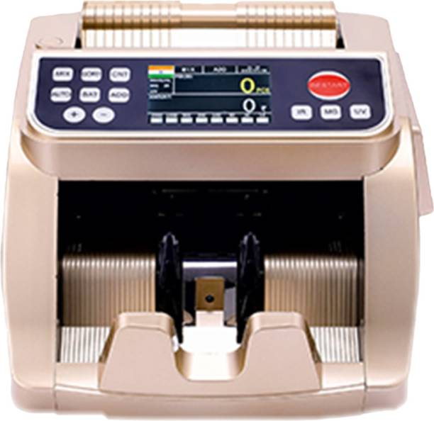Stok Fully Automatic Mix Note Value Counting Machine (ST-VCM03) and Fake Note Detector with Color Sensor Detections + 3D Detections Note Counting Machine (Counting Speed - 1500 notes/min) - Golden Note Counting Machine
