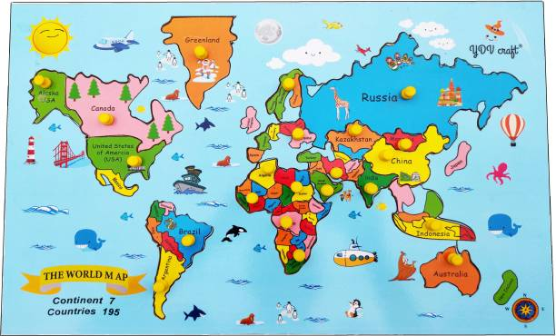 YDV CRAFT Wooden World MAP Puzzle with KNOB Backside Printed Continent Facts Kids Theme Wall Size Jigsaw Floor Puzzle for Boys, Girls 25 Pieces for 3 yrs to 10 Years Multi Color