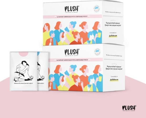 PLUSH Ultra thin Pure U.S. Cotton Sanitary Pads | Curated edition with Large & Extra Large pads | With Individual biodegradable pouches inside-| Pack of 30*2 Sanitary Pad