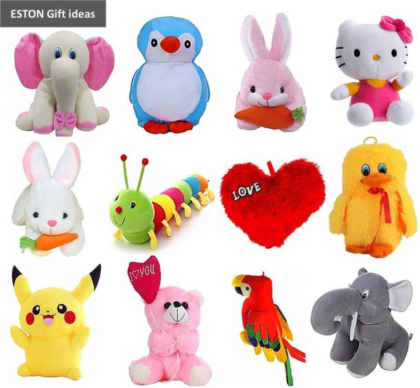 eston Budget Combo Of 12 (Elephant, Pikachu, Rabbit, Caterpillar, Unicorn, Kitty, Parrot and Balloon Teddy) Soft Toy | Birthday Gift for Girls/Wife, Boyfriend/Husband, Soft Toys Wedding/Anniversary Gift for Couple Special, Baby Toys Gift Items  - 30 cm